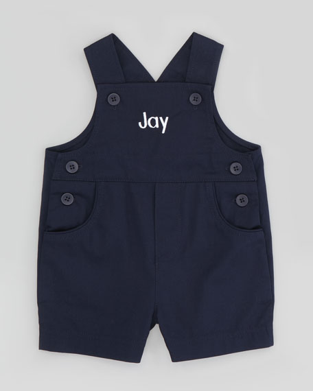 Monogram Pincord Shortalls, Navy Blue, 12-24 Months
