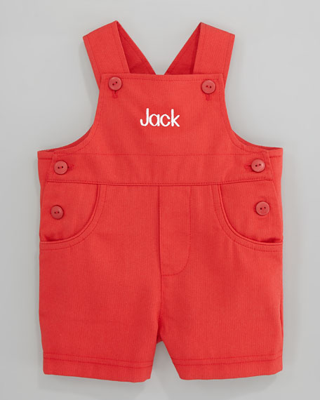 Monogram Pincord Shortalls, Red, 3-9 Months