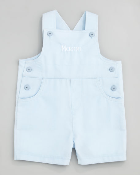 Monogram Pincord Shortalls, Light Blue, 3-9 Months