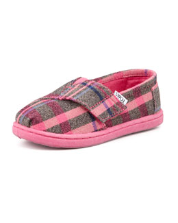 TOMS Tiny Flannel Plaid Classic Shoe, Pink