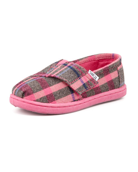 Tiny Flannel Plaid Classic Shoe, Pink