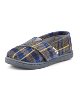 TOMS Tiny Flannel Plaid Shoe, Blue