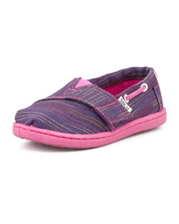 TOMS Tiny Multi-Color-Stripe Bimni Boat Shoe, Purple