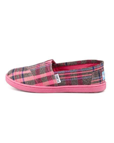 Youth Plaid Slip-On Shoe, Pink