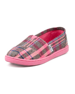 TOMS Youth Plaid Slip-On Shoe, Pink