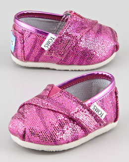 TOMS Tiny Zebra-Glitter Slip-On Shoes, Pink