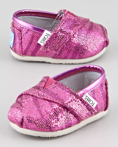Tiny Zebra-Glitter Slip-On Shoes, Pink
