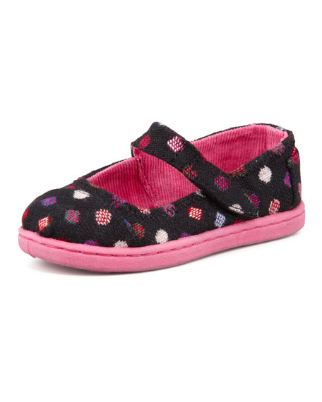 Tiny Wool-Blend Dot Mary Jane Slip-On, Pink