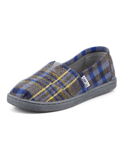 TOMS Youth Plaid Slip-On Shoe, Blue