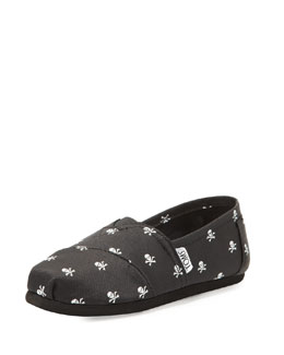 TOMS Youth Skull-Print Classic Slip-On, Black