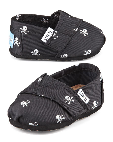 Tiny Skull-Print Slip-On Shoes, Black