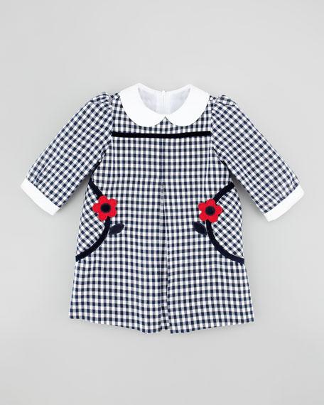 Flower-Pocket Gingham Dress, Navy/White, 12-24 months
