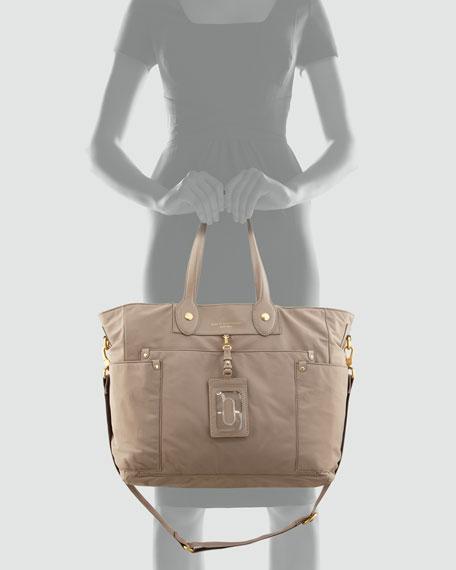 Preppy Nylon Eliz-A-Baby Diaper Bag, Cement