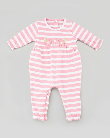 Striped Playsuit with Floral Appliques, 12-24 Months