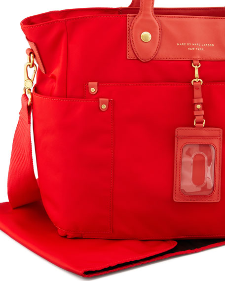 Pretty Nylon Eliz-A-Baby Diaper Bag, Blaze Red