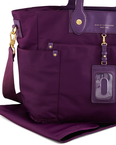 Preppy Nylon Eliz A Baby Diaper Bag Purple