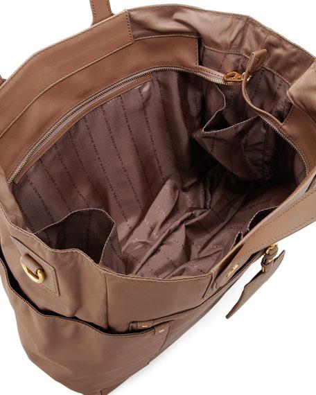 Preppy Nylon Eliz-A-Baby Diaper Bag, Rootbeer