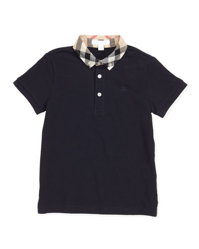 Burberry Check-Collar Polo, True Navy, 4Y-10Y