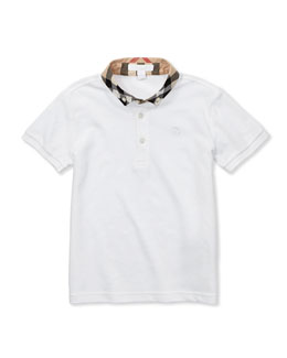 Burberry Check-Collar Polo, White, 4Y-10Y