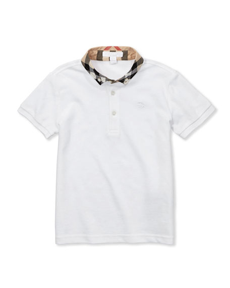 Burberry William Check-Collar Polo, White, 4Y-10Y