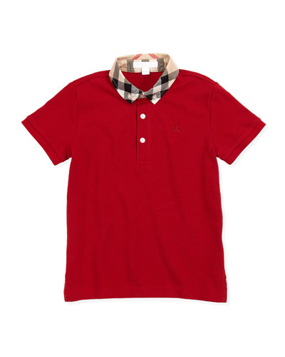 Burberry Check-Collar Polo, Military Red, 4Y-10Y