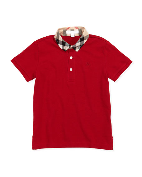 Burberry William Check-Collar Polo, Military Red, 4Y-10Y