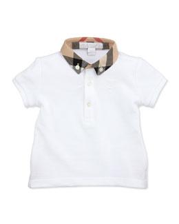 Burberry Mini Pique Polo Shirt, White