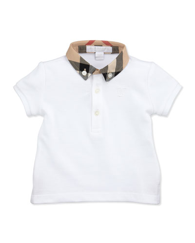 Burberry Mini Pique Polo Shirt, White