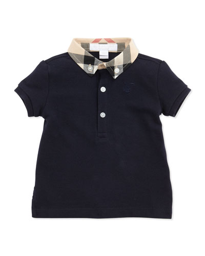 Burberry Mini Pique Polo Shirt, Navy