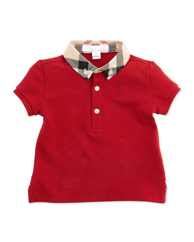 Burberry Mini Pique Polo Shirt, Red