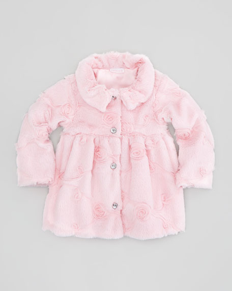 Poppy Seed-Swirls Faux-Fur Coat, Pink, Sizes 2-4