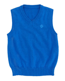 Andy & Evan V-Neck Sweater Vest, Bright Blue, 3-24 Months