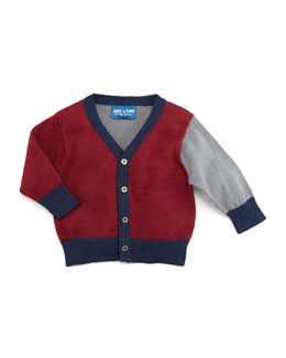 Andy & Evan Colorblocked Knit Cardigan, Dark Red, 3-24 Months