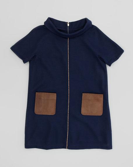 Girls' Leather-Pocket Shift Dress, Navy, Sizes 2-5