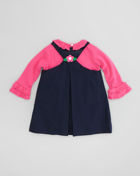 Floral Applique Twill Dress, Navy, Sizes 2T-3T