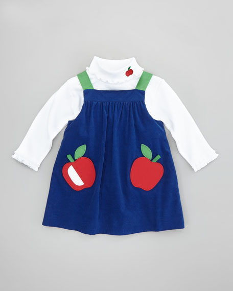 Apple-Pocket Corduroy Dress, Sizes 2T-3T