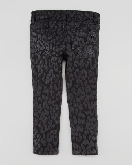 Girl's Stretch Leopard-Print Denim Leggings, Black, Sizes 2-6X