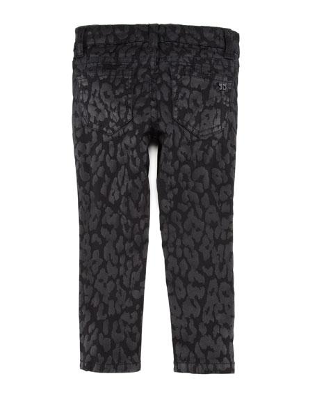 Girl's Stretch Leopard-Print Denim Leggings, Black, Sizes 8-10