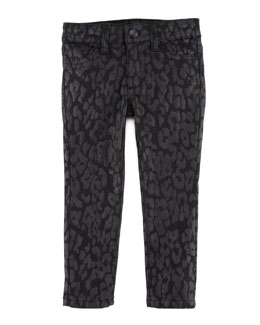 Joe's Jeans Girl's Stretch Leopard-Print Denim Leggings, Black, Sizes 8-10