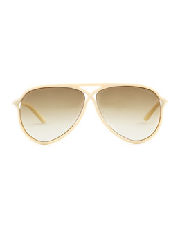 Tom Ford Maximillion Sunglasses, Ivory/Brown