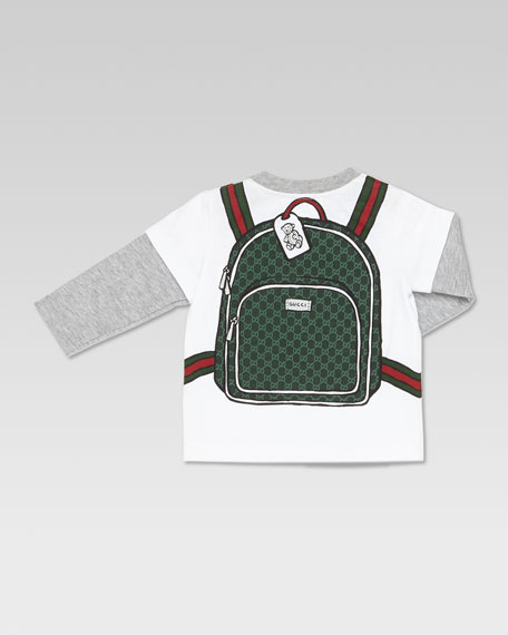 GG School Bag-Print Tee, White/Gray
