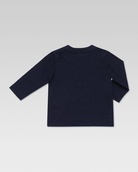 Long-Sleeve Basketball-Print Tee, Blue