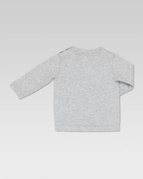 Long-Sleeve GG Ski-Print Tee, Light Gray