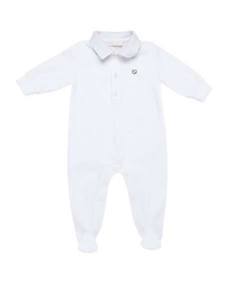 Polo Sleepsuit, White/Gray