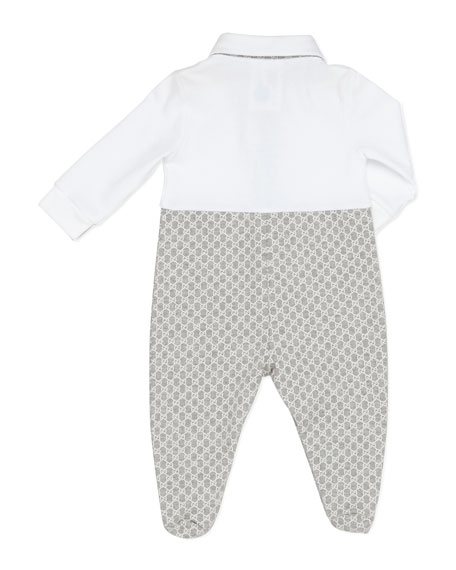 GG Print Sleepsuit, Gray/White