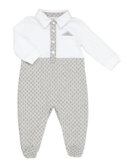 GG Print Sleepsuit, Gray/White