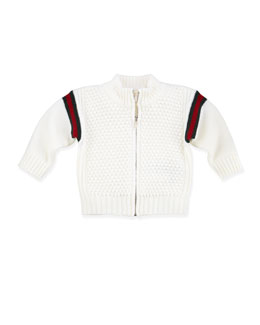 Gucci Web Zip-Front Jacket, White