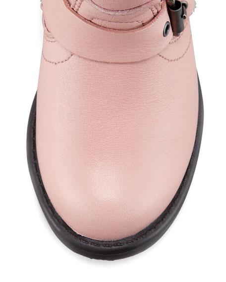 Engineer Double-Buckle Boot, Pink