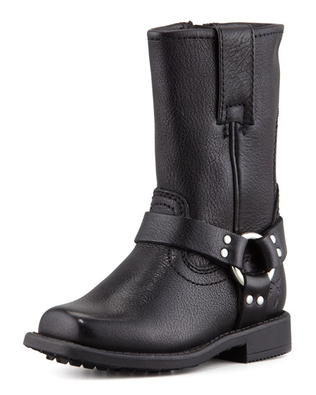 Leather Harness Boot, Black
