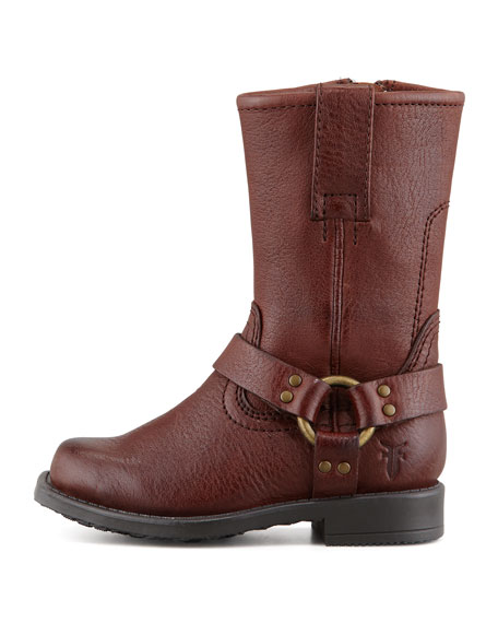 Leather Harness Boot, Dark Brown